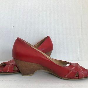 Size 6 Merona Red Peep Toe Wedge Heels